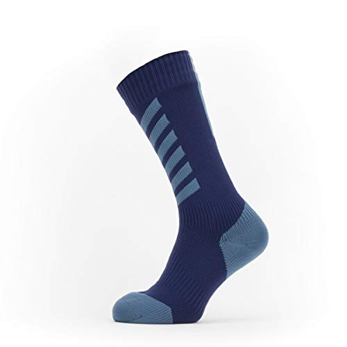 SEALSKINZ Waterproof Cold Weather Mid Length Sock with Hydrostop, Navy Blue/Red, S