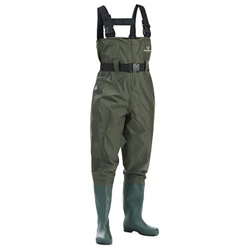 FISHINGSIR Wathose Anglerhose Watstiefel Watt Fisch Teich Gummi PVC Nylon Wathose mit Stiefeln kältebeständig 38-46
