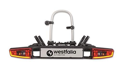 Westfalia bikelander Premium Fahrradträger für Anhängerkupplung - LED-Hybrid-Leuchten - Zusammenklappbarer Kupplungsträger für 2 Fahrräder - E-Bike geeignet - Bis zu 60 kg Zuladung