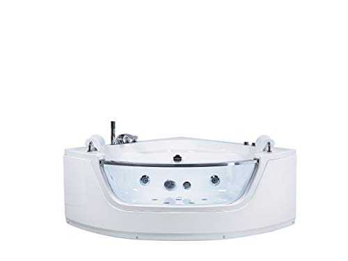 Beliani Eckbadewanne Whirlpool weiß LED mit 7 Farben 150 cm Sanitäracryl Mangle