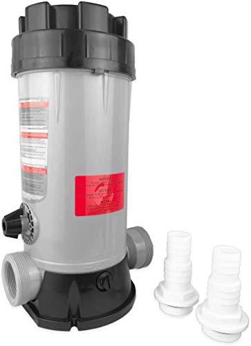 well2wellness Chlordosierer Chlor Dosierschleuse für insgesamt 4kg (20x200g) Chlortabletten Plus 2 Schlauchtüllen 32-38mm mit O-Ring