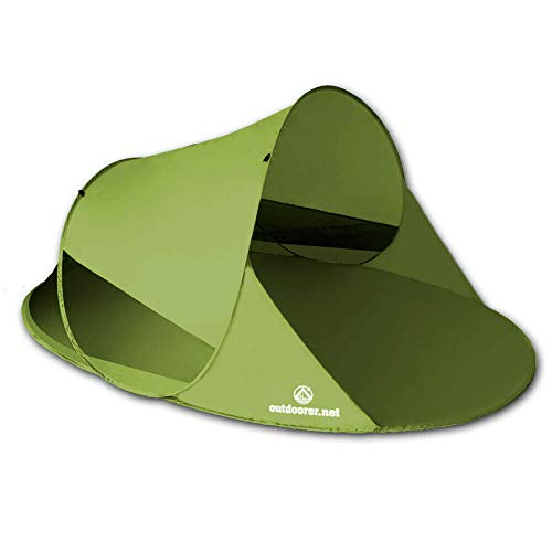 outdoorer Wurf-Strandmuschel Zack II grün - als Pop up Strandmuschel selbstaufbauend, UV 60 Sonnenschutz, Windschutz, großes Strandzelt