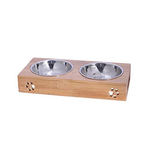 POPETPOP Dual Edelstahl Hundeschüssel Pet Wasserfutter Feeder Schüssel Hundefutter Schüssel Pet Bowl Größe M