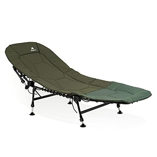 CampFeuer Angelliege XXL | höhenverstellbare und stabile Karpfenliege mit 6 Beinen | faltbares Feldbett mit Tragetasche