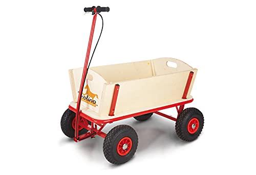 Pinolino Bollerwagen Til mit Bremse, aus massivem Holz, Oberteile komplett abnehmbar, Tragfähigkeit 80 kg, für Kinder ab 2 Jahren