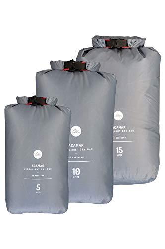 NORDKAMM Dry-Bag, Trockensack, Trockenbeutel, wasserfeste Tasche, 5l, 10l, 15l oder Set, leicht, Ultra-Light, für Reisen, Rucksack, wasserdicht (Grau, 15 Liter)