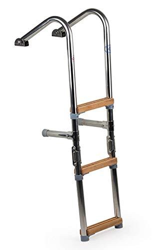 wellenshop Bootsleiter Badeleiter 3 Stufen mit Handlauf Edelstahl Holz klappbar für Boot