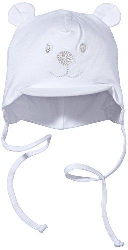 Sterntaler Unisex Schirmmütze mit Bindebändern, Nackenschutz und niedlichem Bärchen-Motiv, Alter: 0-1 Monat, Größe: 33, Weiß