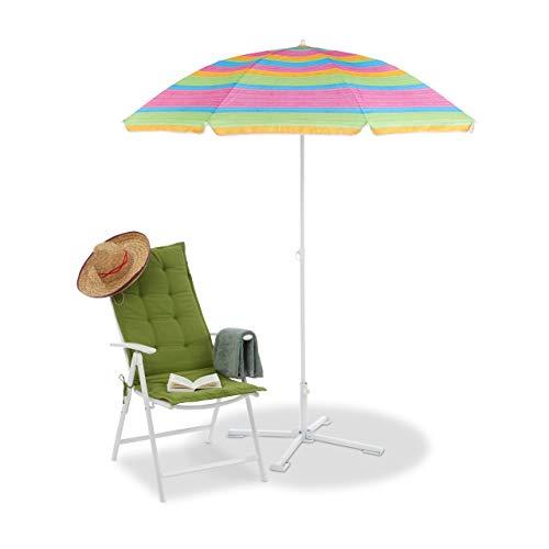Relaxdays Strandschirm gestreift, höhenverstellbarer Sonnenschirm, Gartenschirm mit 50+ UV-Schutz, HD 210 x 170 cm, bunt