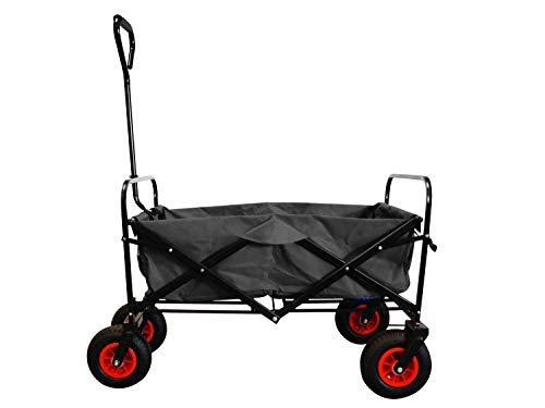 MAXOfit Faltbarer Bollerwagen mit Luftreifen, Schutzhülle und Bremse | 360° Räder | Handwagen Platzsparend klappbar, bis 70kg, Schwarz