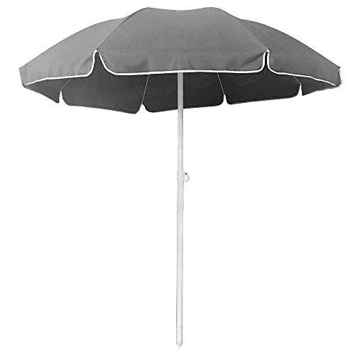 Froadp Ø200cm Knickbar Sonnenschirm Höhenverstellbar Strandschirm UV 50+ Sonnenschutz Gartenschirm mit Zinklegierung Abschließbare Neigefunktion für Balkon Garten Strand(Dunkelgrau)