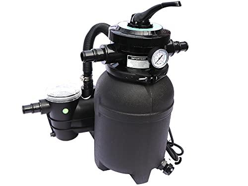 GlobaClean Sandfilteranlage Pool - selbstsaugend - Filteranlage mit Filterpumpe - Sandfilter mit Vorfilter für Schwimmbecken bis 20m³ - Leistung 4 m³/h - 6-Wege Ventil und Druckanzeige - schwarz