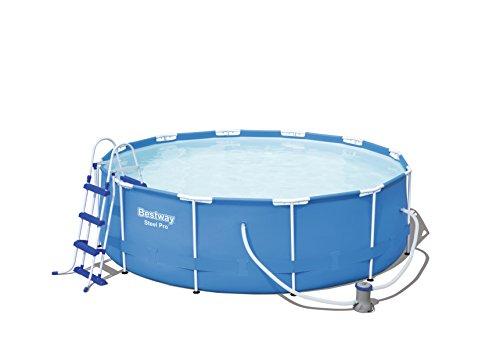 Bestway Steel Pro Frame Pool Set rund, mit filterpumpe und Leiter, 366 x 100 cm, blau