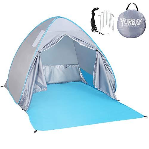 Yorbay Pop up Strandmuschel Stranzelt mit Reißverschlusstür und UV-Schutz 50+, mit Heringen und Tragetasche, für 2-3 Personen, für Familie, Strand, Garten, Camping, Outdoors(Mehrweg)