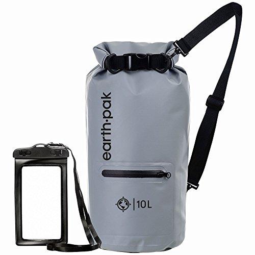 Earth Pak Torrent Serie Dry Bag wassersdichte Tasche mit verstellbarem Schultergurt und wasserfester Handyhülle Ideal beim Kajak Fahren Angeln Rafting Grau 20L