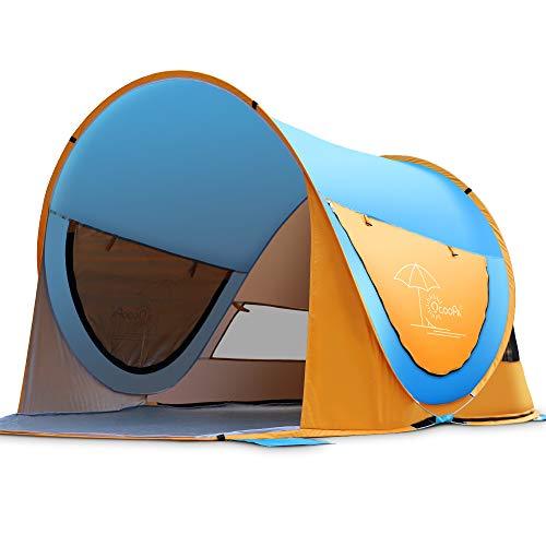 OCOOPA Strandmuschel, Großes Pop-Up-Strandzelt für 4 Personen, Anti-UV, automatisches Strandzelt, Camping, Sonnenschutz, sofort tragbar, 4 Seiten Belüftung, Design Sonnenschutz, Zelte(Himmelblau)