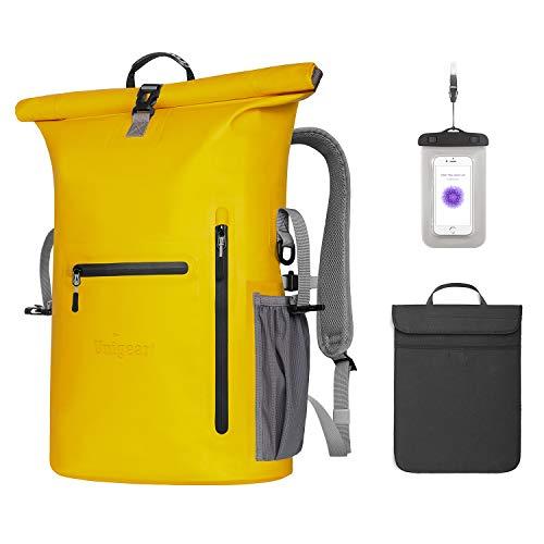 Unigear Wasserdichter Rucksack 35L, Dry Bag, Wasserdichter Packsack, 58x34x19cm, für Boot und Kajak, Angeln, Rafting, Schwimmen, Camping und Snowboarden, MEHRWEG (Gelb)