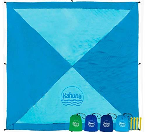Kahuna Stranddecke aus Fallschirmseide – XXL 245 x 245 cm – Strandtuch, Strandmatte, Picknickdecke, Campingdecke – sandfrei, tragbar, dünn & Ultraleicht