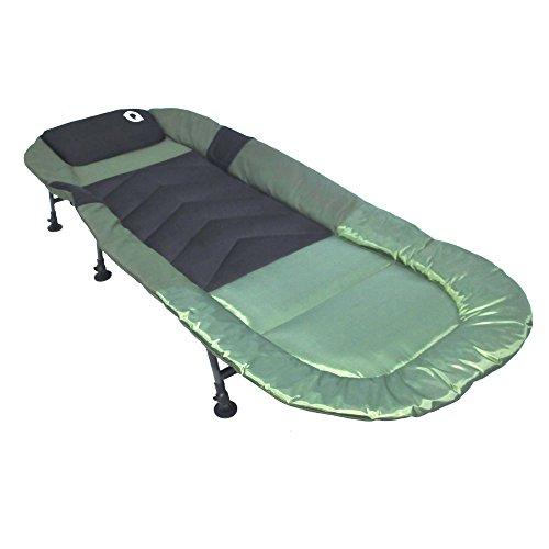 Q-Tac hochwertige Angelliege 6-Bein, Karpfenliege für Profis, Campingliege, Feldbett, Farbe: Grün/Schwarz