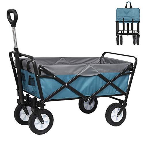 EUGAD Bollerwagen faltbar klappbar Transportkarre Handwagen mit 4 Rollen für Camping Einkaufen belastbar bis 80kg, Blau