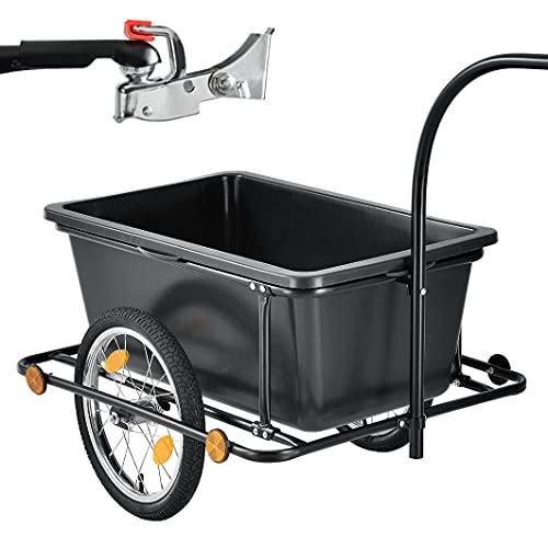 Juskys Fahrradanhänger 90 Liter - Lastenanhänger mit Kupplung, Deichsel – Anhänger für Fahrrad 40/80 kg Zuladung – Transportanhänger mit Reflektoren