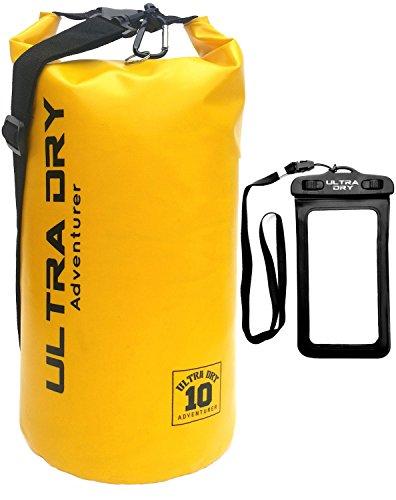 Premium Wasserdichte Tasche, Sack mit Handy-Trockentasche und langem, verstellbarem Schultergurt, ideal für Kajakfahren/ Bootfahren/ Kanufahren / Angeln / Rafting / Schwimmen / Camping (Gelb10 Liter)