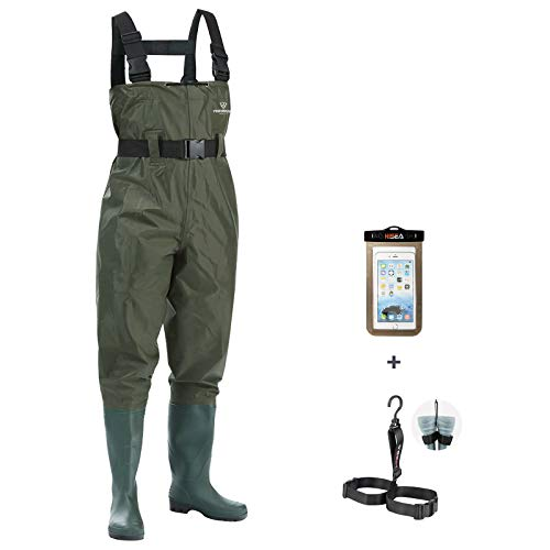FISHINGSIR Wathose Anglerhose Watstiefel Watt Fisch Teich Gummi PVC Nylon Wathose mit Stiefeln kältebeständig 39