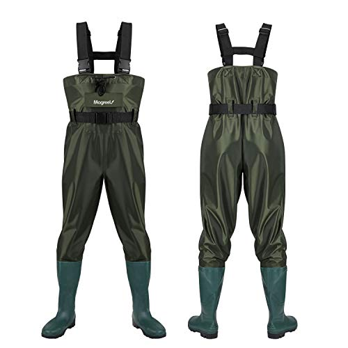 Magreel Wathose Anglerhose Hose mit Stiefel Watstiefel Watt Fisch Teich Gummi PVC Nylon für Herren Gr. - grün - 11UK/45eu