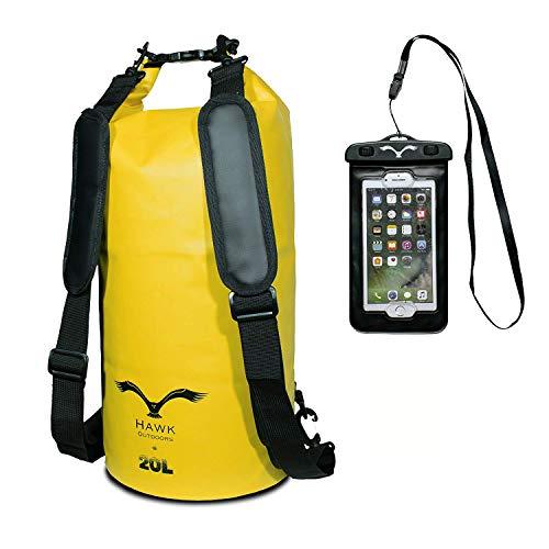 HAWK OUTDOORS Dry Bag - wasserdichter Packsack mit gepolsterten Schulter-Gurten inklusive wasserdichter Handy-Hülle - 20L - Stausack Seesack - Wasserfester Rucksack - Segeln Rafting Kajak