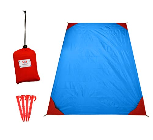polaar Picknickdecke und Stranddecke, Wasserdicht, Ultraleicht, für bis zu 4 Personen, mit Heringen - Ideal für den Park, Reise und Camping