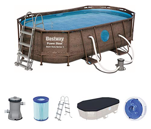 Bestway Power Steel Swim Vista 424x250x100 cm, Frame Pool oval Komplett-Set mit stabilem Stahlrahmen, rattan