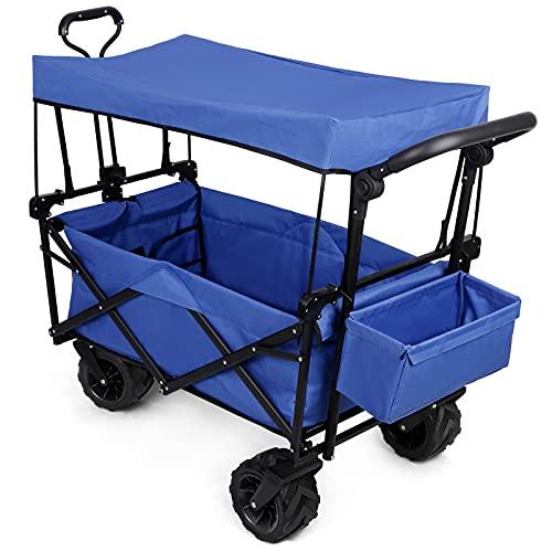 Bollerwagen Strandwagen Klappbar mit Dach Breiten Geländerädern Metallrahmen, bis 50KG, faltbar Transportwagen Handwagen Gartenanhänger Transportkarre
