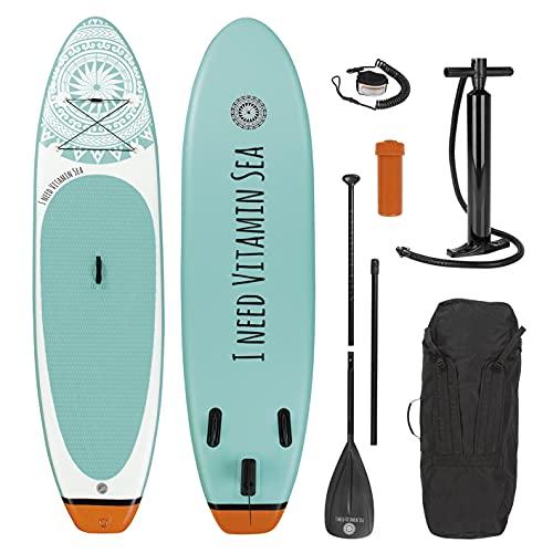 EASYmaxx - MAXXMEE Stand-Up Paddle-Board 'I Need Vitamin SEA' | Inkl. Tragetasche, Reparatur-Kit & Luftpumpe, mit praktischem Tragegriff | Premium Qualität