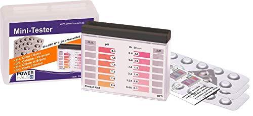 POWERHAUS24 Wassertester, Pooltester für pH-Wert und freies Chlor mit 40 Tabletten in Stabiler Kunststoffbox