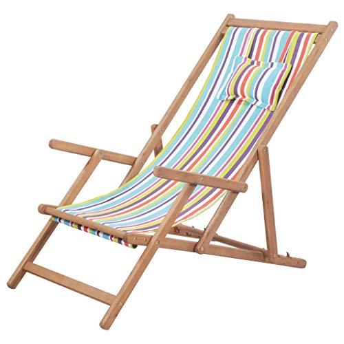 vidaXL Holz Liegestuhl Stoff Mehrfarbig Sonnenliege Strandliege Gartenliege