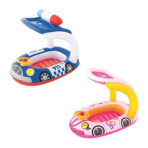 Bestway 34103 Poolboot Schutz UV Careful Kiddie Car Float 98x66 cm, Kinderboot mit Sonnendach, bunt