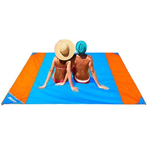 OUSPT Picknickdecke 210 x 200 cm, Stranddecke wasserdichte, Sandabweisende Campingdecke 4 Befestigung Ecken, Ultraleicht kompakt Wasserdicht und sandabweisend(Orange)
