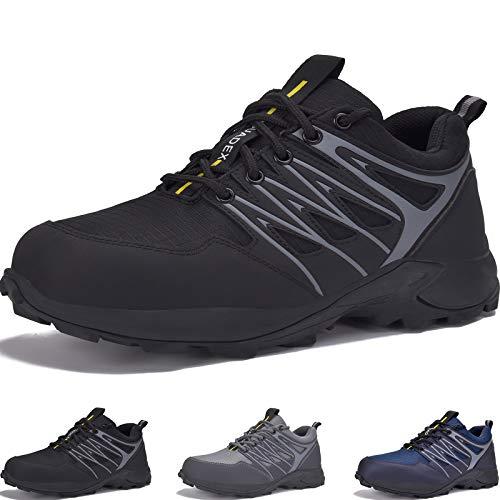 JACKSHIBO Wanderschuhe Herren Trekkingschuhe Outdoorschuhe Leicht Sportlich Schuhe Wanderhalbschuhe, Schwarz 42EU