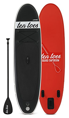 Ten Toes Board Emporium Weekender Inflatable Stand Up Paddle Board Bundle Paddleboard, Schwarz/rot, Medium/25,4 cm