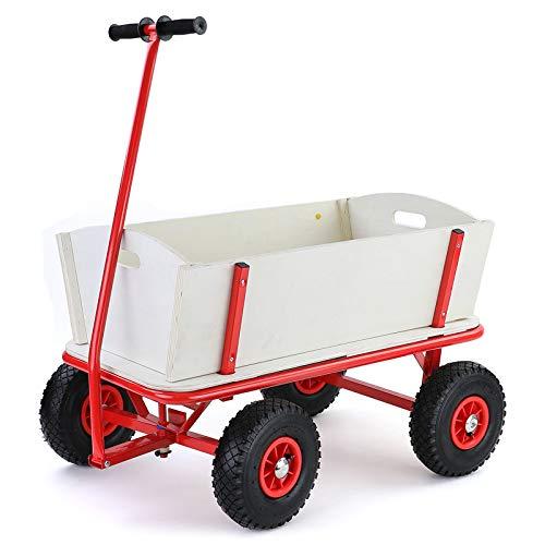 RAMROXX 34185 Bollerwagen Holz Handwagen Transportwagen Gartenwagen Transportkarre bis 150kg