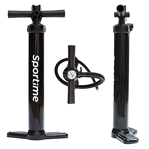 Sportime SUP Pumpe | Double Action Doppelhubpumpe für SUP-Boards, Boote und Kajaks | Integriertes Manometer | Aus robustem PVC mit Alukolben | LxB 63x30 cm | 800 g | Schwarz