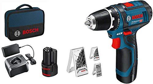 Bosch Professional 12V System Akkuschrauber GSR 12V-15 (inkl. 2x2,0 Akku + Ladegerät, 39tlg.-Zubehör-Set, in Tasche) - Amazon Exclusive Set