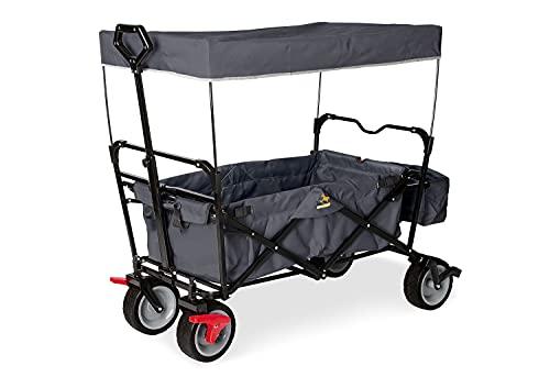Pinolino 238011 Klappbollerwagen Paxi dlx mit Bremse, faltbar, inkl. Sonnendach und Tragetasche, Tragfähigkeit 70 kg, anthrazit