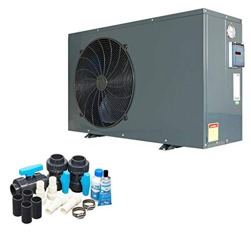 well2wellness ON/Off Pool Wärmepumpe Mida.Quick 10 - Poolheizung mit Einer Heizkapazität bis 9,5 kW Plus Bypass Set Basic + Abdeckung