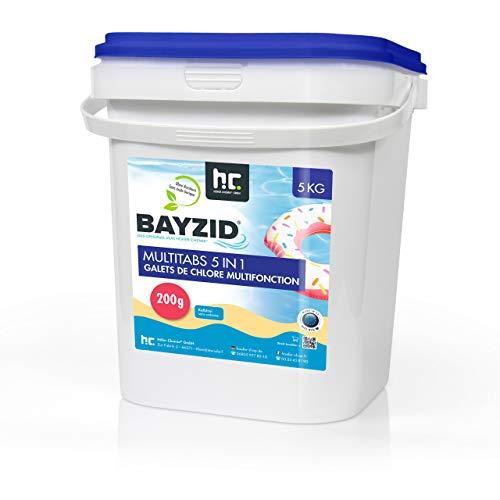 Chlor Multitabs 5 in 1 - 200g Tabs Multi Chlortabletten - 1 x 5kg mit 5 Phasen Pflegewirkung für sauberes und hygienisches Poolwasser