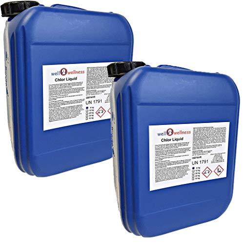 well2wellness Chlor Liquid - stabilisiertes Flüssigchlor Chlorbleichlauge 2 x 6 kg