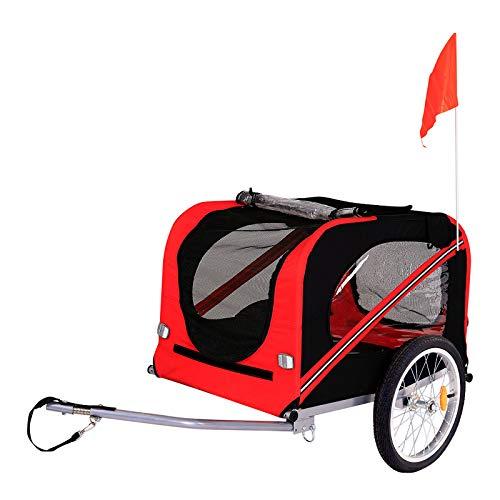 dibea Fahrradanhänger für Hunde inkl. Anhängerkupplung und Sicherheitsgurten Hundeanhänger rot/schwarz