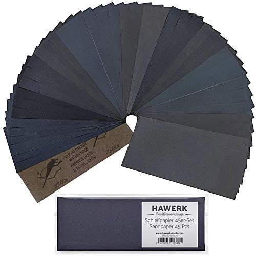 Hawerk Profi Schleifpapier Set | 80 - 3000 Körnung 45 Stück | Nass und Trocken | Schleifpapier für Auto / Holz / Stein / Lack / Metall / Glas - Sandpapier / Sand Paper fein und grob