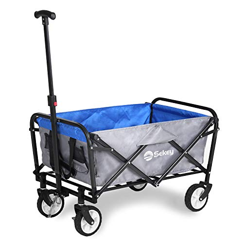 Sekey Mini Bollerwagen Faltbarer Bollerwagen Faltwagen Handwagen, Outdoor Wagen mit Bremsen und Teleskopgriff, Grau mit Blau