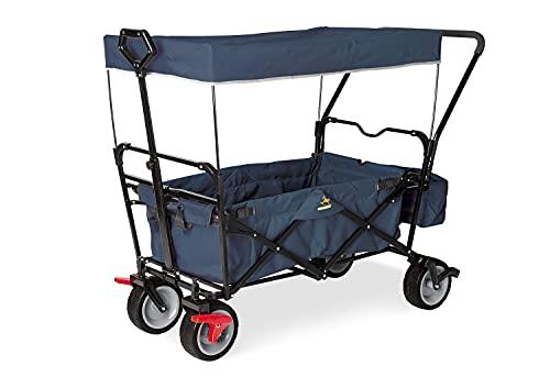 Pinolino 238021 Klappbollerwagen Paxi DLX Comfort mit Bremse, Sonnendach, Tragetasche, komfortabler Schiebegriff, Tragfähigkeit 70 kg, Marineblau